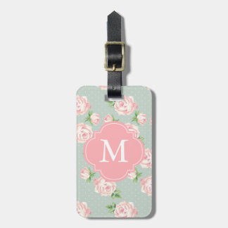 Pink and Mint Vintage Roses Pattern Monogrammed Luggage Tag