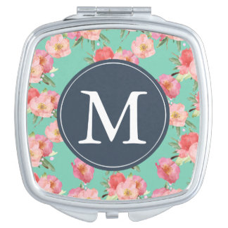 Pink and Mint Watercolor Flowers monogram Makeup Mirror