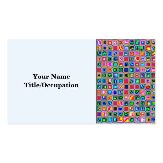 Pink And Multicolored Textured Tiles Pattern Business Card Template