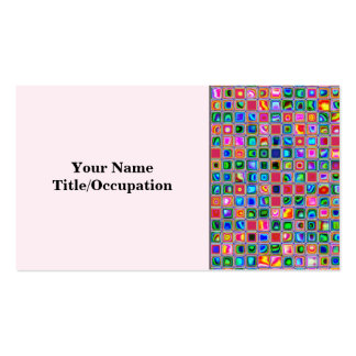 Pink And Multicolored Textured Tiles Pattern Business Card Templates