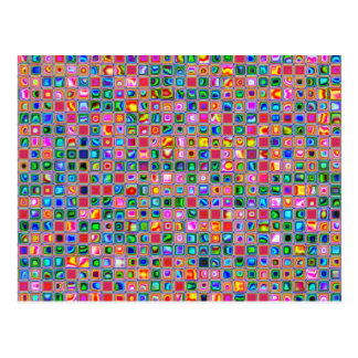 Pink And Multicolored Textured Tiles Pattern Postcard
