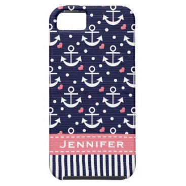 Beach Themed Pink and Navy Anchor iPhone SE/5/5s Case