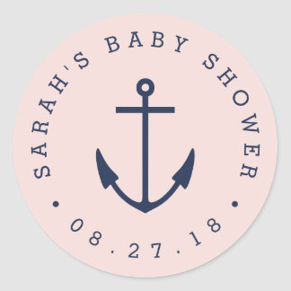 Pink and Navy Anchor Nautical Baby Shower Classic Round Sticker