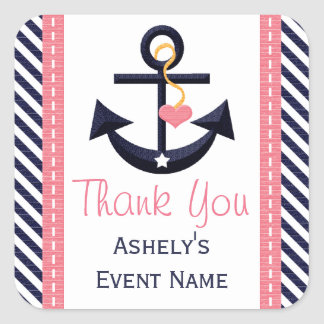 Pink and Navy Anchor Party Favor Stickers