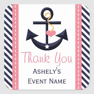Beach Themed Pink and Navy Anchor Party Favor Stickers