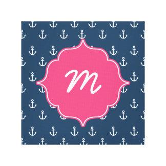 Pink and Navy Anchors Monogram Canvas Print