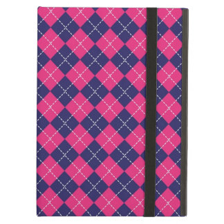 Pink and Navy Argyle Case For iPad Air