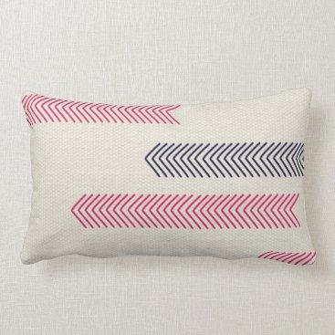 Aztec Themed Pink and Navy Aztec Tribal Arrows Lumbar Pillow