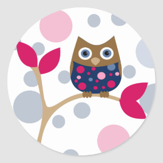 Pink and Navy Baby Owl Classic Round Sticker