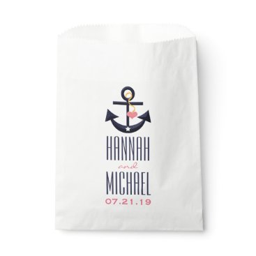 Beach Themed Pink and Navy Blue Anchor Heart Wedding Favor Bag