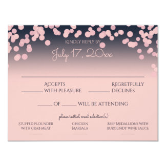 Pink and Navy Blue Bokeh Response with Meal Choice Card