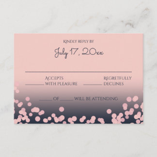 Pink and Navy Blue Bokeh Wedding Response
