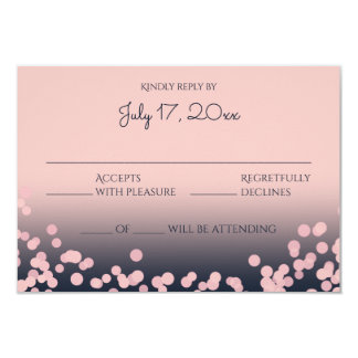 Pink and Navy Blue Bokeh Wedding Response Card