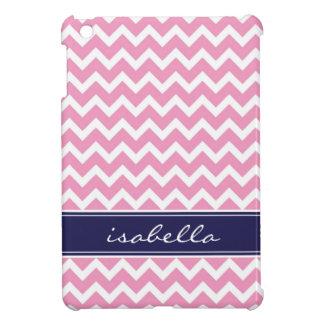 Pink and Navy Blue Chevron Custom Monogram Case For The iPad Mini