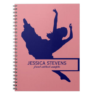 Pink And Navy Blue Dancer Silhouette Illustration Notebook