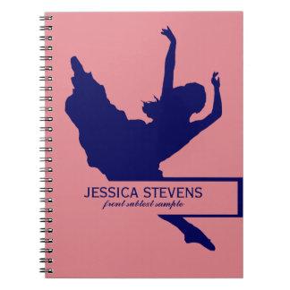 Pink And Navy Blue Dancer Silhouette Illustration Spiral Notebook