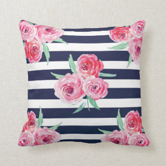 Pink and Navy blue floral Pillow