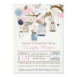 Pink and Navy Blue Hanging Cages Jars Baby Shower Card