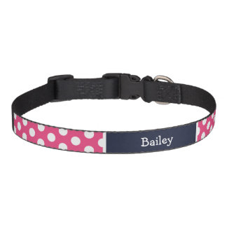 Pink and Navy Blue Polka Dots Monogram Pet Collar