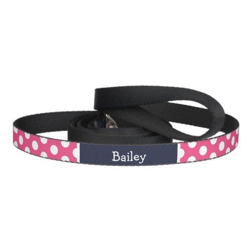 Pink and Navy Blue Polka Dots Monogram Pet Leash
