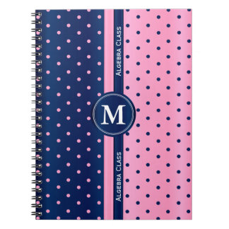 Pink and Navy Blue Polka Dots Notebook