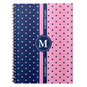 Aztec Themed Pink and Navy Blue Polka Dots Notebook