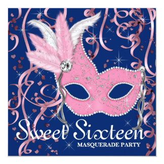 Pink and Navy Blue Sweet Sixteen Party Card