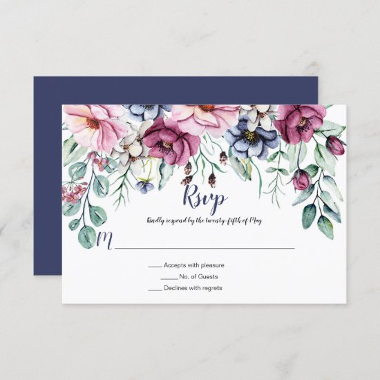 Pink and Navy Blue Watercolor Floral RSVP Card