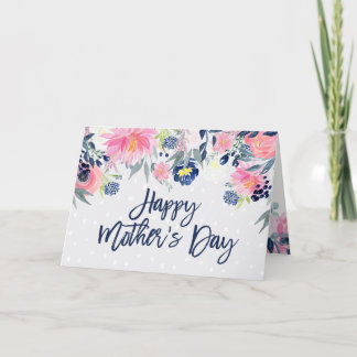 Pink and Navy Flowers | Happy Mother's Day Card