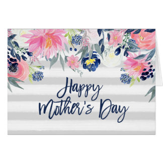 Pink and Navy Flowers | Stripes Happy Mother's Day Card