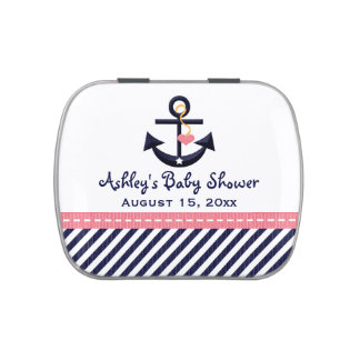 Pink and Navy Nautical Anchor Baby Shower Favor Jelly Belly Tin