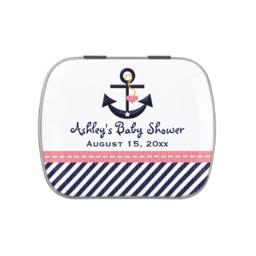 Beach Themed Pink and Navy Nautical Anchor Baby Shower Favor Jelly Belly Tin