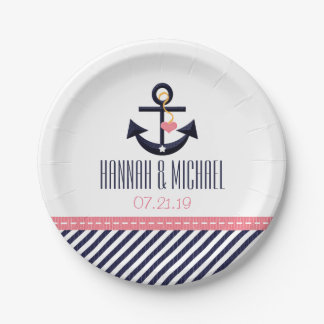 Pink and Navy Nautical Anchor Wedding Paper Plate