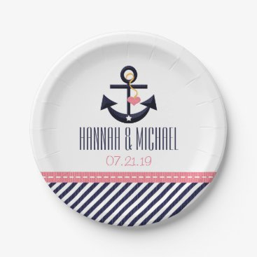 Beach Themed Pink and Navy Nautical Anchor Wedding Paper Plate