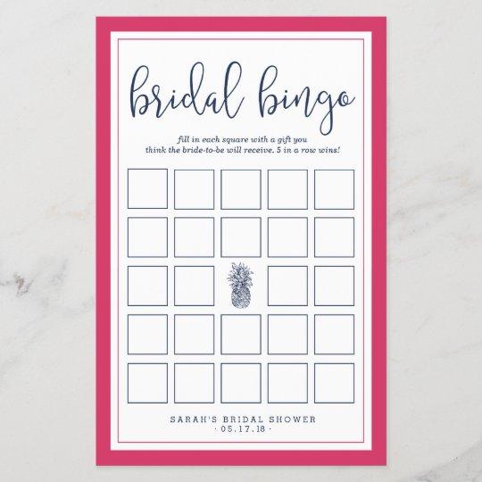 pink and navy pineapple bridal shower bingo game