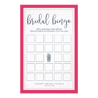 Pink and Navy Pineapple Bridal Shower Bingo Game Flyer