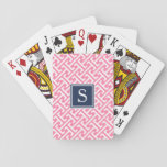 """Pink and Navy Preppy Pattern Monogram Playing Cards<br><div class=""""desc"""">Upgrade your everyday deck of cards with our preppy chic monogrammed version! Design features a modern, Greek-inspired geometric pattern in vibrant pink and white, with your single initial monogram in contrasting navy blue. Want this pattern on another item you don&#39;t see in my shop, or in a custom color palette...</div>"""