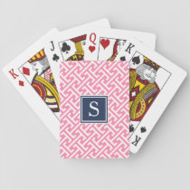 Pink and Navy Preppy Pattern Monogram Playing Cards