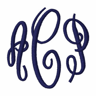 Pink and Navy Script Embroidered Monogram