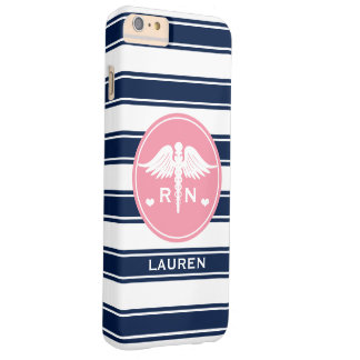 PINK AND NAVY STRIPE CADUCEUS NURSE RN BARELY THERE iPhone 6 PLUS CASE