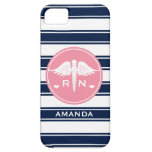 PINK AND NAVY STRIPE CADUCEUS NURSE RN iPhone 5 COVERS