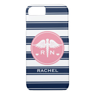 PINK AND NAVY STRIPE CADUCEUS NURSE RN iPhone 7 CASE
