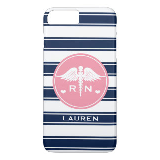 PINK AND NAVY STRIPE CADUCEUS NURSE RN iPhone 8 PLUS/7 PLUS CASE