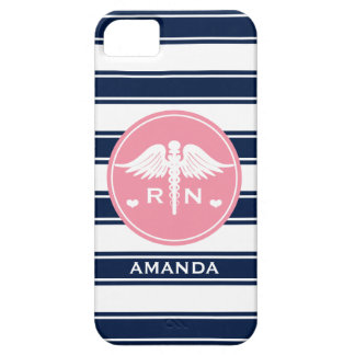 PINK AND NAVY STRIPE CADUCEUS NURSE RN iPhone SE/5/5s CASE