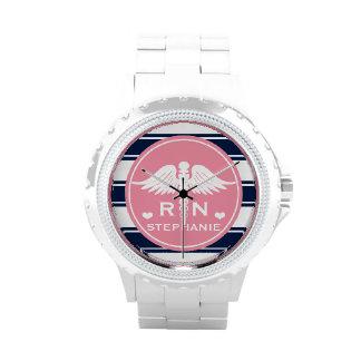Pink and Navy Stripe Caduceus RN Nurse Wristwatch
