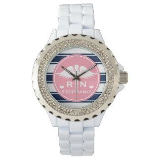 Pink and Navy Stripe Caduceus RN Nurse Wristwatches