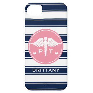 PINK AND NAVY STRIPE PHYSICAL THERAPY PT iPhone SE/5/5s CASE