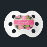 """Pink and Navy Vintage Roses Monogram Pacifier<br><div class=""""desc"""">Custom designed pacifier for baby girl with a girly vintage rose floral print and polka dots. Personalize the design with a custom name monogram for a sweet gift for a new mom or baby shower present! Click the &quot;Customize It&quot; button to change fonts and colors for a unique one of...</div>"""