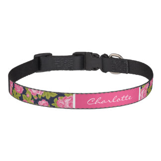 Pink and Navy Vintage Roses Monogram Pet Collar