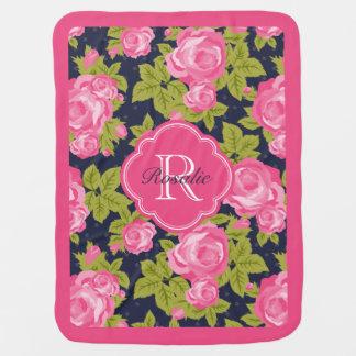 Pink and Navy Vintage Roses Monogram Stroller Blanket
